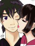 1boy 1girl black_hair female inuyasha male miroku sango