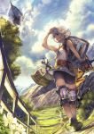 1girl aircraft airship belt bike_shorts blue_eyes clouds day farrah_(granblue_fantasy) granblue_fantasy knee_pads open_mouth outdoors ryouku shield short_hair silver_hair solo sword tree walking weapon