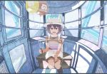 1girl backpack bag balloon black_hair black_legwear catcar0983 ferris_wheel_interior hair_between_eyes hat_feather holding holding_balloon hologram japari_symbol kaban_(kemono_friends) kemono_friends looking_at_viewer red_shirt shirt short_hair short_sleeves shorts sitting smile solo twitter_username