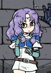 1girl armor blush breastplate circlet fingerless_gloves fire_emblem fire_emblem:_rekka_no_ken florina gloves green_eyes huss long_hair ponytail purple_hair tears