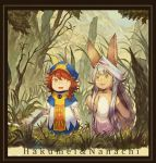 2girls :3 animal_ears beret blush_stickers braid branch character_name claws crossover fang framed furry grass hair_flaps hakumei_(hakumei_to_mikochi) hakumei_to_mikochi hat highres long_hair looking_at_another made_in_abyss minigirl multiple_girls nanachi_(made_in_abyss) open_mouth orange_eyes orange_hair outdoors puffy_short_sleeves puffy_sleeves rabbit_ears short_hair short_sleeves side_braid tabard tree white_hair xinuo223 yellow_eyes