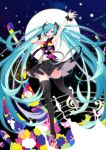 1girl :d absurdly_long_hair absurdres ahoge arm_up armpits black_legwear black_skirt blue_hair eyes floating_hair full_moon groin hair_ornament hatsune_miku headphones highres long_hair long_legs looking_at_viewer midriff miniskirt moon musical_note navel open_mouth shiny shiny_clothes shiny_skin skirt sleeveless smile solo stomach tell_your_world_(vocaloid) thigh-highs twintails very_long_hair vocaloid wrist_cuffs yaoshi_jun