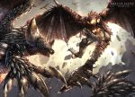 claws copyright_name day dragon flying from_below highres horns looking_at_another monster monster_hunter monster_hunter:_world nergigante no_humans outdoors raruru rathalos scales sharp_teeth spikes tail teeth wings