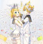 1boy 1girl :d aqua_eyes blonde_hair brother_and_sister cowboy_shot crown eye_contact hair_ribbon hairband hand_on_another's_shoulder highres ixima kagamine_len kagamine_rin layered_skirt looking_at_another miniskirt open_mouth pants ribbon shirt short_hair short_shorts short_sleeves shorts siblings skirt sleeveless sleeveless_shirt smile standing vocaloid white_hairband white_pants white_ribbon white_shirt white_shorts white_skirt