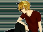 1boy arm_on_knee arm_on_shoulder arm_support blonde_hair collarbone highres horns looking_at_viewer looking_to_the_side red_eyes sennen_sensou_aigis shirooosai shirt sitting solo stray_(sennen_sensou_aigis) striped striped_background t-shirt