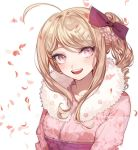 1girl :d ahoge akamatsu_kaede alternate_costume bangs blonde_hair blush bow danganronpa floral_print flower fur_collar hair_bow hair_flower hair_ornament japanese_clothes kimono long_hair looking_at_viewer musical_note_hair_ornament new_danganronpa_v3 open_mouth petals pink_eyes pink_kimono print_kimono purple_bow round_teeth sash side_ponytail sidelocks smile solo swept_bangs teeth upper_body zuizi