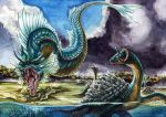 fins gyarados horn lapras no_humans pokemon pokemon_(creature) pokemon_(game) pokemon_rgby realistic shadeofshinon sharp_teeth teeth traditional_media watercolor_(medium)