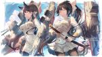 2girls artist_name atago_(azur_lane) azur_lane bangs black_legwear blue_sky blush bow breasts character_name clouds contrapposto covered_navel cowboy_shot day double_penetration dress eyebrows_visible_through_hair garter_straps hair_bow high_ponytail holding holding_sword holding_weapon katana legs_apart long_hair long_sleeves looking_at_viewer machinery medium_breasts military military_uniform miniskirt multiple_girls pantyhose pleated_skirt profile serious sheath shiny shiny_hair skirt sky standing sword takao_(azur_lane) thigh-highs turret uniform unsheathing usanekorin v-shaped_eyebrows very_long_hair weapon white_bow white_dress white_skirt yellow_eyes zettai_ryouiki