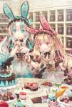 2girls :o :p animal_ears aqua_eyes aqua_hair aqua_nails bangs black_dress blonde_hair blueberry cake chocolate closed_mouth commentary dress eyebrows_visible_through_hair finger_to_mouth fingernails food fruit hair_between_eyes hairband heart highres indoors lolita_fashion lolita_hairband long_hair multicolored_hair multiple_girls nail_polish original parfait parted_lips pastry pastry_bag pink_eyes pink_hair pink_nails puffy_short_sleeves puffy_sleeves rabbit_ears short_sleeves silver_hair strawberry streaked_hair striped tongue tongue_out valentine very_long_hair wrist_cuffs yumeichigo_alice