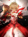 1girl aestus_estus ahoge armor blonde_hair closed_mouth dress fate/extra fate/grand_order fate_(series) green_eyes highres laurel_crown nero_claudius_(fate) nero_claudius_(fate)_(all) no-kan pauldrons petals red_dress red_petals rose_petals saber_extra shiny shiny_hair smile