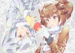 2girls apple bangs brown_coat brown_eyes brown_hair coat eurasian_eagle_owl_(kemono_friends) eyebrows_visible_through_hair food fruit fur_collar gloves grey_coat head_wings kemono_friends long_sleeves looking_at_another multicolored_hair multiple_girls northern_white-faced_owl_(kemono_friends) parted_lips portrait short_hair symmetry takano_itsuki upside-down white_gloves white_hair yellow_eyes yellow_gloves
