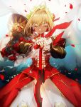 1girl aestus_estus ahoge armor blonde_hair closed_eyes closed_mouth dress fate/extra fate/grand_order fate_(series) hair_intakes highres laurel_crown nero_claudius_(fate) nero_claudius_(fate)_(all) no-kan pauldrons petals pose red_dress red_petals rose_petals saber_extra shiny shiny_hair