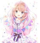 1girl :d bangs blue_dress blue_eyes blue_sailor_collar blurry blurry_background blush bow cardigan collarbone collared_shirt commentary_request confetti depth_of_field dress eyebrows_visible_through_hair fingernails floral_print flower hair_between_eyes hair_flower hair_ornament head_tilt heart highres kimishima_ao light_brown_hair long_hair long_sleeves looking_at_viewer open_cardigan open_clothes open_mouth original pennant pink_bow pink_cardigan pink_ribbon print_dress ribbon ribbon_trim sailor_collar shirt smile solo string_of_flags thank_you white_background white_flower white_shirt