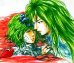 1boy 1girl asellus_(saga_frontier) commentary_request ildon long_hair marker_(medium) saga saga_frontier short_hair traditional_media