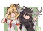 2girls animal_ears argyle_neckwear black_eyes black_hair blonde_hair blush breast_pocket breasts brown_eyes closed_mouth fang fang_out fur_collar gradient_clothes hand_up impossible_clothes impossible_shirt kemono_friends kugi_ta_hori_taira lion_(kemono_friends) lion_ears long_hair long_sleeves looking_at_viewer medium_breasts moose_(kemono_friends) multiple_girls necktie outline pocket puffy_long_sleeves puffy_sleeves red_neckwear salute shirt short_sleeves smile tareme two-finger_salute two-tone_background upper_body v-shaped_eyebrows waving white_outline white_shirt