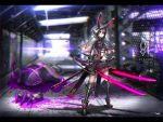 1girl animal_ears armor armored_boots black_hair blurry blurry_background boots capelet dual_wielding full_body gauntlets gia highres hood katana legs_apart long_hair looking_at_viewer midriff original pleated_skirt rabbit_ears red_eyes skirt solo standing sword weapon wind