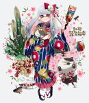 1girl 2018 animal animal_costume ball bamboo basket closed_mouth dog_costume domino_mask earrings floral_print flower full_body grey_background grey_hair hagoita hair_flower hair_ornament hanetsuki happy_new_year holding holding_animal inkling jajji-kun_(splatoon) japanese_clothes jewelry kimono kojajji-kun_(splatoon) long_hair looking_at_viewer mask mimimi_(echonolog) mole mole_under_mouth new_year paddle pointy_ears print_kimono red_eyes sandals smile solo splatoon splatoon_2 squid standing tabi tentacle_hair translated white_legwear year_of_the_dog