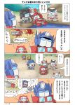 4koma 6+boys 80s absurdres autobot blue_eyes bumblebee chibi comic commentary_request full_body gears_(transformers) ground_vehicle headgear highres huffer_transformes) ironhide jazz_(transformers) mirage_(transformers) motor_vehicle multiple_boys no_humans oldschool optimus_prime prowl ratchet speech_bubble standing thinking thought_bubble transformers translation_request truck wheeljack yabunoki
