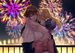 2boys banba_zenji blonde_hair brown_eyes brown_hair cowboy_shot fan fireworks hair_ornament hakata_tonkotsu_ramens hug japanese_clothes kimono kodori long_hair male_focus multiple_boys night outdoors paper_fan ponytail railing standing wide_sleeves xianming_lin yukata