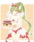 1girl bangs bikini_bottom blush bow brown_eyes cake character_request closed_mouth commentary_request eyebrows_visible_through_hair feathered_wings food green_hair hair_between_eyes hairband happy_birthday head_wings high_ponytail holding holding_plate light_(luxiao_deng) long_hair looking_at_viewer navel plate ponytail ragnarok_online red_bikini_bottom red_hairband sidelocks smile solo sparkle striped striped_bow vertical_stripes very_long_hair white_wings wings