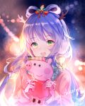 1girl antlers blue_hair blue_hairband earmuffs eyebrows_visible_through_hair floating_hair green_eyes hair_between_eyes hair_ribbon hairband holding long_hair luo_tianyi merry_christmas open_mouth pink_coat ribbon solo striped striped_ribbon upper_body very_long_hair vocaloid white_ribbon yu_jiu
