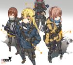 4girls arrow assault_rifle backpack bag bandaid bandaid_on_face blonde_hair blue_eyes bow_(weapon) brown_hair character_name compound_bow english goggles green_eyes gun h&k_mp7 h&k_ump hair_ornament hairclip handgun heckler_&_koch highres hk416 holding holding_gun holding_weapon jacket knee_pads long_hair multiple_girls orange_eyes original pouch revolver rifle russian scarf submachine_gun suppressor weapon yakumo_ling