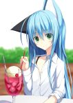 1girl animal_ears blue_hair cat_ears cherry closed_mouth cup drinking_glass drinking_straw eyebrows_visible_through_hair food fruit green_eyes highres holding ice ice_cream ice_cream_float kurimu_(crim_soda) long_hair looking_at_viewer original shirt soda spoon tail white_shirt wine_glass
