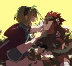 1boy 1girl artist_request cape closed_eyes couple fire_emblem fire_emblem:_rekka_no_ken gloves green_hair hairband hetero highres jaffar_(fire_emblem) nino_(fire_emblem) open_mouth red_eyes redhead short_hair smile