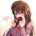 1girl bangs beret black_hat blush braid breasts chocolate chocolate_heart collarbone covering_mouth eyebrows_visible_through_hair gradient gradient_background hair_ribbon hat heart hitsuki_rei light_rays long_hair long_sleeves medium_breasts purple_shirt red_ribbon ribbon shirt side_braid snowdreams_-lost_in_winter- solo tareme two-handed upper_body violet_eyes yellow_background yellow_ribbon