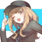 1girl ;d akamatsu_kaede bangs baseball_cap black_hat blonde_hair blush breasts cosplay danganronpa gakuran hat hat_tip index_finger_raised long_hair long_sleeves looking_at_viewer medium_breasts musical_note_hair_ornament new_danganronpa_v3 one_eye_closed open_mouth saihara_shuuichi saihara_shuuichi_(cosplay) school_uniform smile solo swept_bangs two-tone_background upper_body violet_eyes zuizi