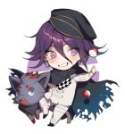 1boy :d black_cape black_hat blue_eyes blush cape checkered_neckwear chibi cravat danganronpa fang full_body grin hair_between_eyes hat leg_up long_sleeves looking_at_viewer male_focus new_danganronpa_v3 open_mouth outstretched_arms pants peaked_cap poke_ball pokemon_(creature) shiny shiny_hair smile standing standing_on_one_leg straitjacket teeth thigh_strap torn_cape tossing two-tone_background violet_eyes white_pants zorua zuizi