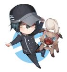 1boy barking baseball_cap black_hair black_hat black_pants blue_eyes blush brown_eyes chibi closed_mouth crossover danganronpa dog expressionless fang full_body gakuran hair_between_eyes hand_on_headwear hat long_sleeves looking_at_viewer new_danganronpa_v3 one_eye_closed pants pokemon rockruff school_uniform standing striped two-tone_background vertical-striped_pants vertical_stripes zuizi