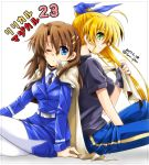 2girls back-to-back belt blonde_hair blue_eyes blue_ribbon breasts dasuto dated green_eyes hair_between_eyes hair_ornament hair_ribbon jacket_on_shoulders large_breasts long_hair lyrical_nanoha multiple_girls necktie one_eye_closed pants pantyhose profile ribbon shirt side_ponytail sitting t-shirt tsab_naval_military_uniform twitter_username vivio white_background white_legwear x_hair_ornament yagami_hayate