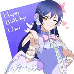 1girl bangs birthday blue_hair blush butterfly_hair_ornament character_name eyebrows_visible_through_hair feathered_wings flower hair_flower hair_ornament happy_birthday heart kwk long_hair looking_at_viewer love_live! love_live!_school_idol_festival love_live!_school_idol_project microphone one_eye_closed ribbon simple_background sleeveless smile solo sonoda_umi upper_body white_wings wings x_hair_ornament yellow_eyes