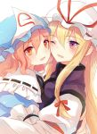 2girls blonde_hair cheek-to-cheek eyebrows_visible_through_hair frills hair_ribbon hat hug lilith_(lilithchan) long_hair medium_hair mob_cap multiple_girls one_eye_closed pink_hair red_eyes red_ribbon ribbon saigyouji_yuyuko tabard touhou violet_eyes yakumo_yukari