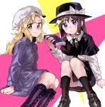 2girls alternate_eye_color anarogumaaa bangs black_capelet black_footwear black_hat black_legwear black_neckwear black_skirt blonde_hair blue_eyes blush book boots bow brown_hair capelet dress expressionless fedora fingernails from_side gradient_eyes hair_bow hat hat_bow holding holding_book kneehighs long_hair long_sleeves looking_at_viewer looking_to_the_side maribel_hearn mob_cap multicolored multicolored_background multicolored_eyes multiple_girls nail_polish necktie panties pantyshot pantyshot_(sitting) parted_bangs pink_background pink_nails purple_dress purple_footwear reflective_eyes shiny shiny_clothes shiny_hair shoes short_hair single_sidelock sitting skirt smile thighs touhou underwear usami_renko violet_eyes white_panties yellow_background