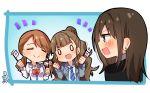 >:d brown_hair flag hair_bun houjou_karen idolmaster idolmaster_cinderella_girls kamiya_nao long_hair multiple_girls necktie omuretsu shibuya_rin