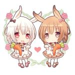 2girls :d :o animal_ears bangs bare_shoulders bell black_bow bow braid breasts brown_dress brown_eyes brown_hair chibi commentary_request dress eyebrows_visible_through_hair gloves hair_between_eyes hair_bow heart jingle_bell looking_at_viewer maodouzi multiple_girls open_mouth original pantyhose parted_lips paw_gloves paws pink_bow pleated_dress rabbit_ears red_eyes red_ribbon ribbon silver_hair smile standing strapless strapless_dress stuffed_carrot stuffed_toy upper_teeth white_background white_dress white_legwear