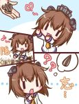 1girl :3 :d ?? bangs blush brown_hair chibi commentary_request dress eyebrows_visible_through_hair finger_to_mouth hair_between_eyes heart index_finger_raised kantai_collection komakoma_(magicaltale) long_sleeves musical_note neckerchief open_mouth out_of_frame outstretched_arms quaver sailor_dress seed smile speaking_tube_headset sunflower_seed white_dress yellow_neckwear yukikaze_(kantai_collection) ||_||