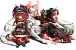1girl armor armored_boots asymmetrical_legwear boots breasts burning_hair_ties exhaust glowing glowing_eye hair_censor hair_over_one_eye high_heels kantai_collection keita_(tundereyuina) knees_up legs long_hair looking_at_viewer mechanical_arms mouth red_eyes rigging shinkaisei-kan shiny shiny_hair silver_hair simple_background sitting solo southern_ocean_war_hime teeth topless turret twintails very_long_hair white_background