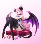 1girl absurdres aura_kingdom bare_shoulders black_choker black_legwear breasts choker cookman demon_girl elbow_gloves fingerless_gloves gloves gradient highres horns large_breasts long_hair looking_at_viewer pantyhose pink_background pink_hair red_eyes sitting succubus tail thigh-highs valentine wings