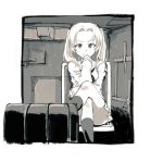 1girl girls_und_panzer greyscale highres kadotani_anzu kotoyama legs_crossed looking_at_viewer miniskirt monochrome ooarai_school_uniform school_uniform serafuku sitting skirt smile socks solo tank_interior twintails
