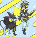 1girl animal_ears black_hair blue_legwear breasts chikorita85 electric_guitar eye_contact fake_animal_ears gloves green_eyes guitar instrument long_sleeves looking_at_another luxray personification pokemon pokemon_(creature) pokemon_(game) pokemon_dppt shoes small_breasts smile standing star starry_background striped striped_legwear traditional_media