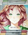alek_mangaka bangs blush close-up dress face green_dress green_eyes highres long_hair luculia_marlborough marker_(medium) redhead smile thank_you traditional_media violet_evergarden wind
