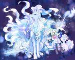 1girl alola_form alolan_ninetales alolan_vulpix blonde_hair boots braid fur_hat fur_trim green_eyes hat kantarou_(8kan) lillie_(pokemon) long_hair mittens neck_ribbon pokemon pokemon_(anime) pokemon_(creature) pokemon_sm_(anime) ribbon sitting twin_braids