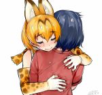 2girls animal_ears blonde_hair blue_hair blush crying happa_(cloverppd) happy_tears hug kaban_(kemono_friends) kemono_friends multiple_girls red_shirt serval_(kemono_friends) serval_ears serval_print shirt smile t-shirt tears