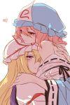 2girls at bare_shoulders blonde_hair chin_on_head chin_rest hat heart hug lilith_(lilithchan) mob_cap multiple_girls orange_eyes pink_hair ribbon saigyouji_yuyuko touhou violet_eyes yakumo_yukari yuri