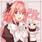 >_o 1boy :d alternate_costume apron astolfo_(fate) black_bow blush bow bowtie braid djchanmio enmaided eyebrows_visible_through_hair fate/apocrypha fate_(series) hair_between_eyes hair_bow happy_valentine heart highres holding holding_plate index_finger_raised juliet_sleeves long_hair long_sleeves looking_at_viewer maid maid_headdress male_focus one_eye_closed open_mouth pink_hair plate poking puffy_sleeves rabbit shiny shiny_hair single_braid smile solo trap very_long_hair violet_eyes white_apron white_bow white_neckwear