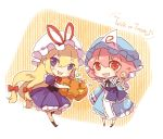 blonde_hair candy chibi commentary dress food hair_ribbon halloween hat jack-o'-lantern japanese_clothes kimono lilith_(lilithchan) long_hair mob_cap orange_eyes pink_hair pumpkin purple_dress ribbon saigyouji_yuyuko striped striped_legwear touhou trick_or_treat violet_eyes yakumo_yukari