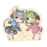 2girls ;d abe_suke ahoge animal_ears bangs black_footwear blush brown_eyes brown_footwear capelet character_name chibi dress eyebrows_visible_through_hair full_body green_eyes green_hair grey_hair jewelry kasodani_kyouko leaning_forward long_sleeves looking_at_viewer mouse_ears mouse_tail multiple_girls nazrin necklace one_eye_closed open_mouth short_hair simple_background skirt skirt_set smile socks standing tail touhou v white_background white_legwear